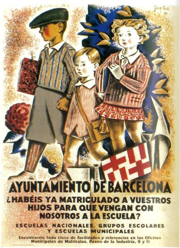 Primer cartel de marketing escolar, Alfredo Opisso, Barcelona, 1930